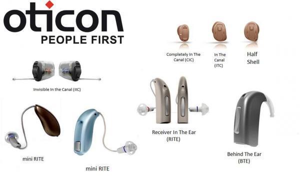 Oticon kulak arkası, kulak içi ve mini kulak arkası işitme cihazları görselde tanıtılmıştır.