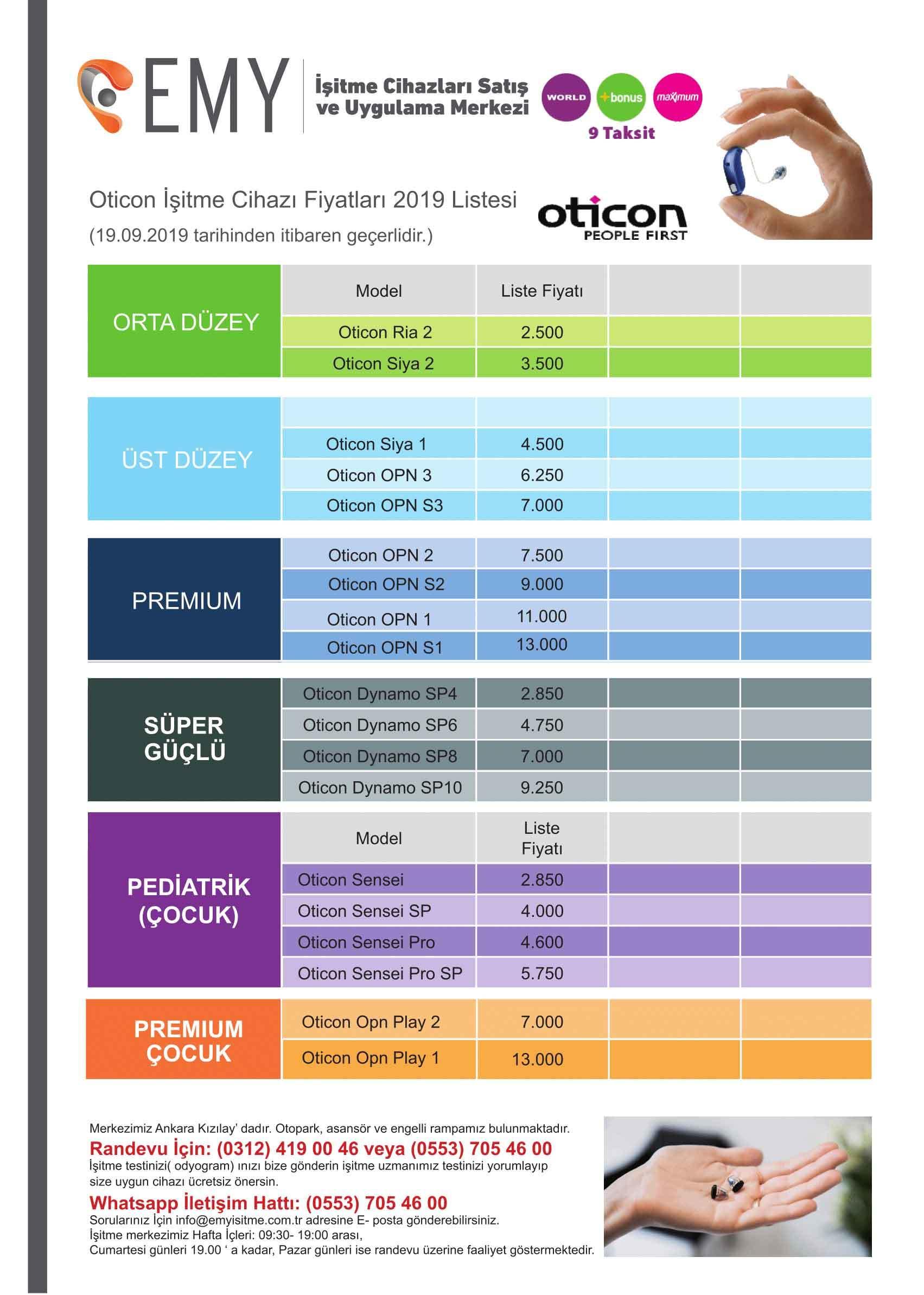 oticon işitme cihazı fiyatları 2019