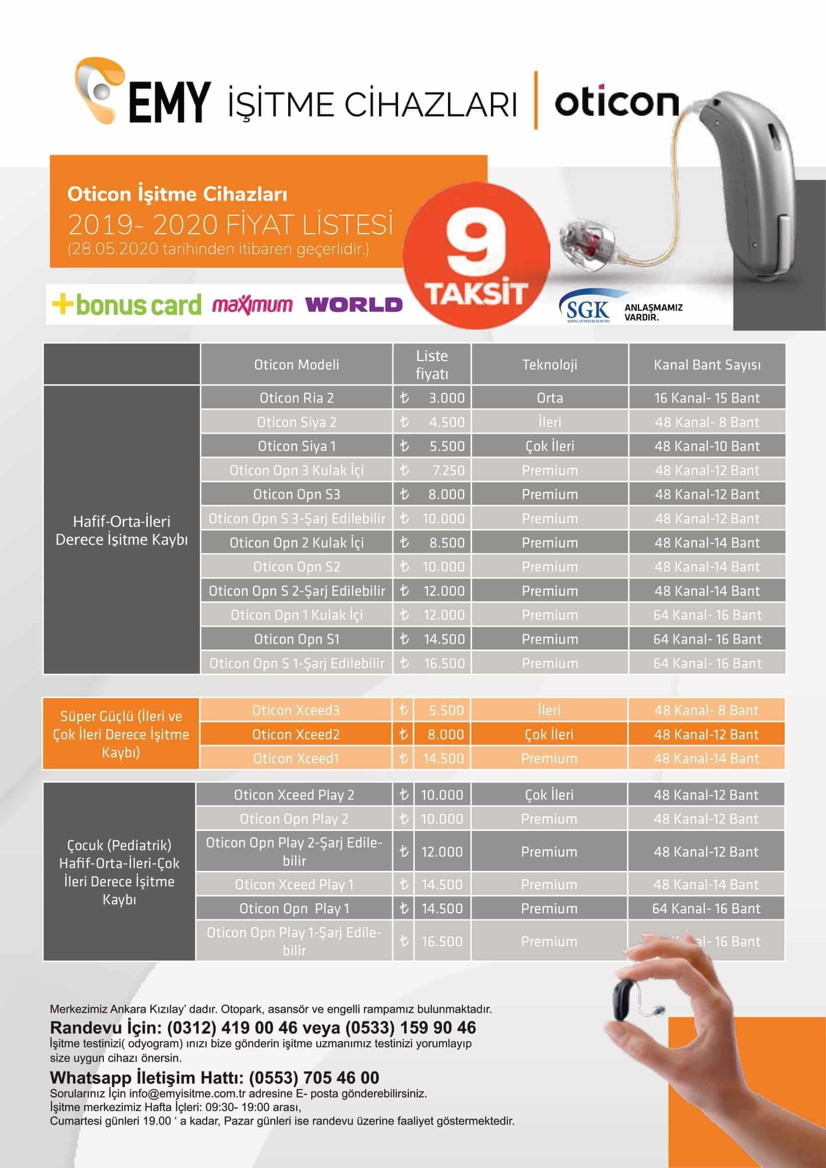 Oticon işitme cihazı fiyatları 2019-2020 emyisitme.com.tr
