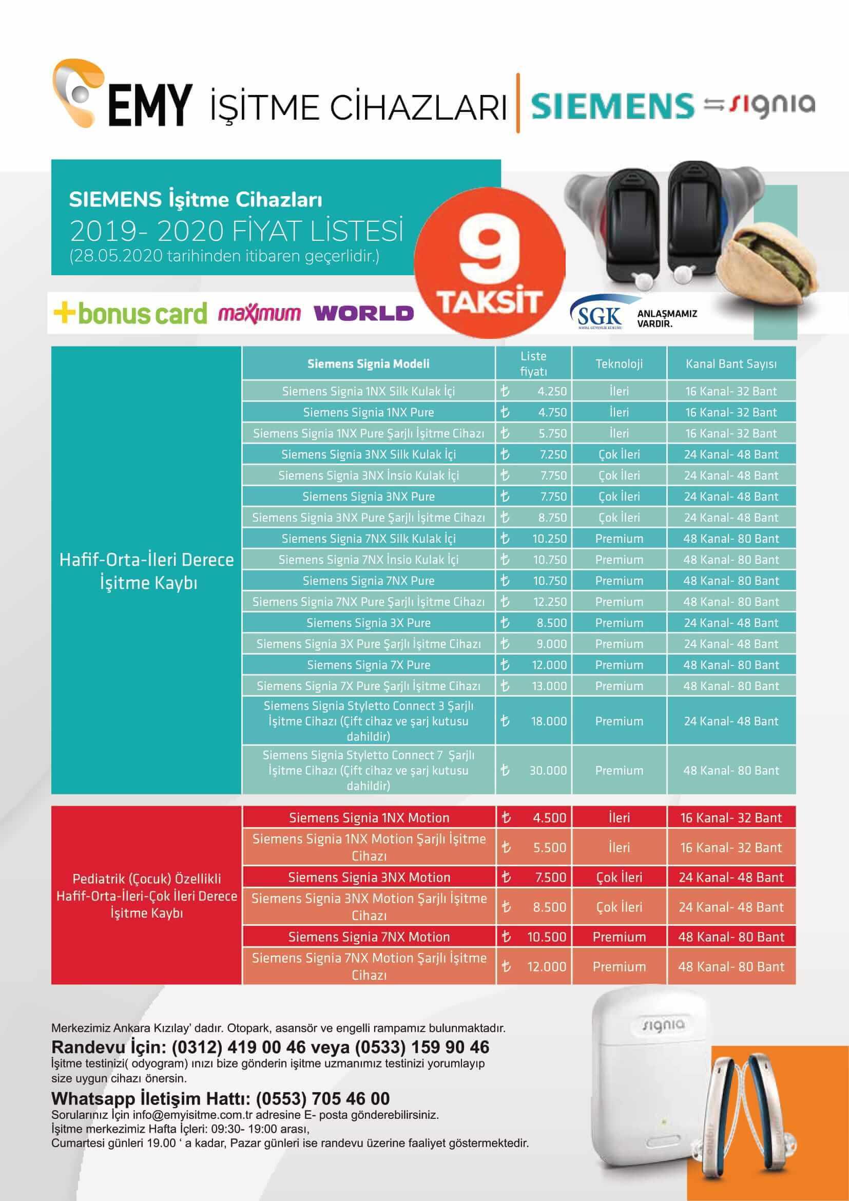 Siemens Signia işitme cihazı fiyatları 2019-2020 emyisitme.com.tr